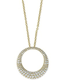 "EFFY® Diamond Pavé Circle 18"" Pendant Necklace (1 ct. t.w.) in 14k Gold"