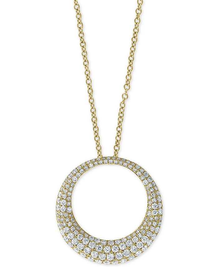 "EFFY Collection - Diamond Pavé Circle 18"" Pendant Necklace (1 ct. t.w.) in 14k Gold"