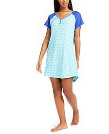 Raglan Sleeve Colorblocked Sleep Shirt Nightgown