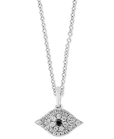 "EFFY® Black Sapphire Accent & Diamond (1/6 ct. t.w.) Evil Eye 18"" Pendant Necklace in Sterling Silver"