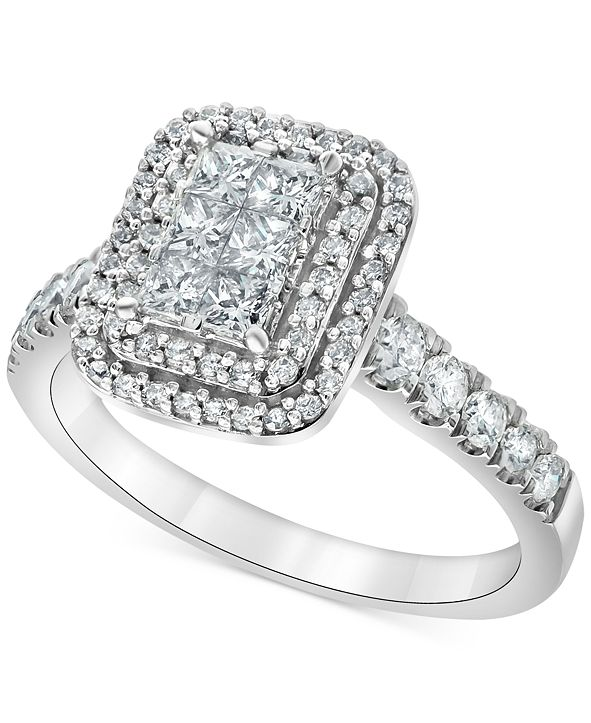 Macy's Diamond Princess Halo Engagement Ring (1 ct. t.w.) in 14k White Gold