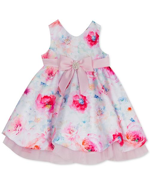 Rare Editions Baby Girls Floral-Print Mikado Bubble Dress