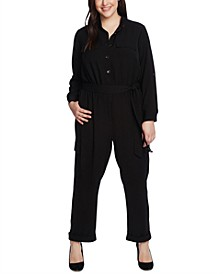 Plus Size Belted Cargo Jumpsuit