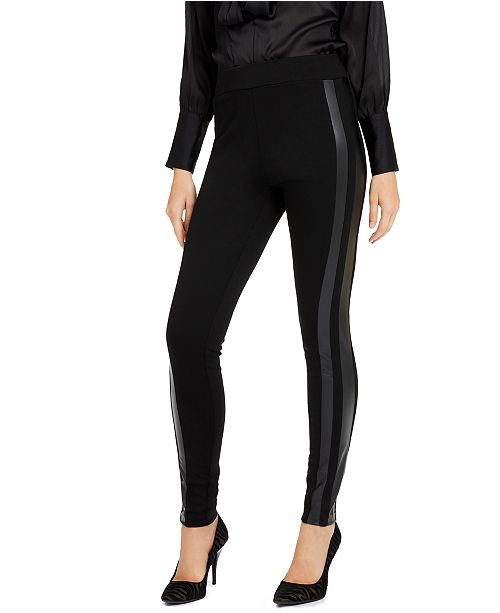 INC International Concepts INC Petite Faux-Leather-Striped Leggings, Created For Macy's