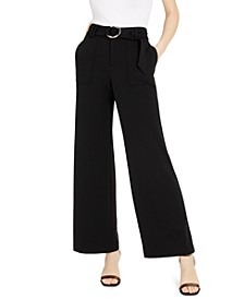 INC Belted Wide-Leg Utility Pants, Created for Macy's
