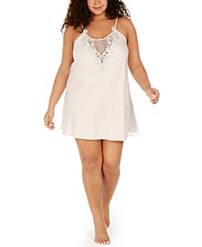 Plus Size Lace-Trim Chemise Nightgown