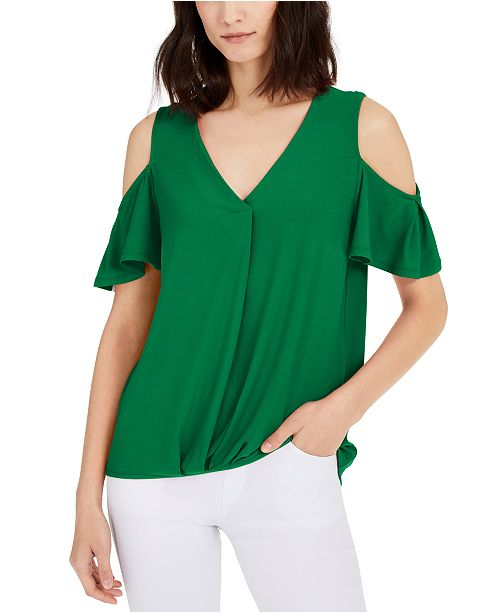 INC International Concepts INC Surplice Cold-Shoulder Top, Created for Macy's