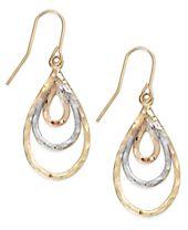 10k Two-Tone Gold Earrings, Multi Pear Diamond Cut Earrings