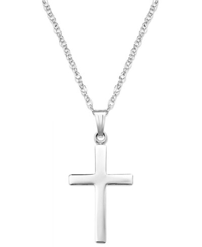 Sterling silver necklace polished cross pendant necklaces sterling silver necklace polished cross pendant mozeypictures Images