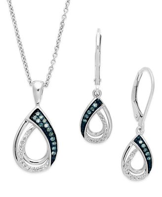 Blue and White Diamond Jewelry Set in Sterling Silver 1 4 ct