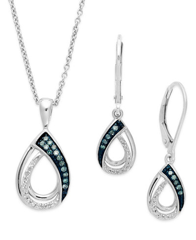 Blue and White Diamond Jewelry Set in Sterling Silver (1/4 ct. t.w.)