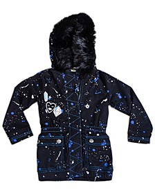 Toddler, Little, and Big Girls Faux Fur Parka Utility Jacket with Splatter Print