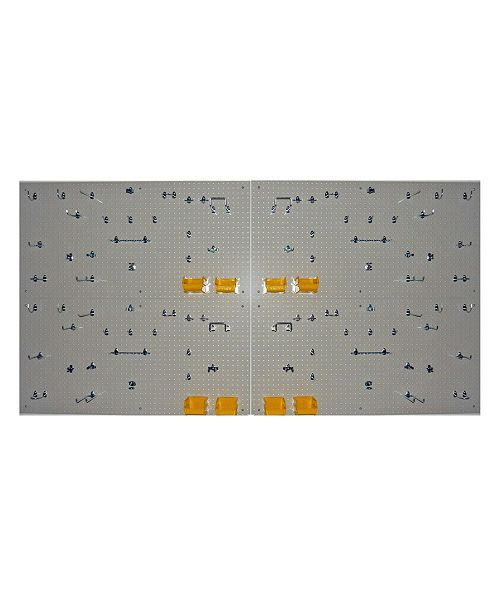 Triton Products Duraboard Pegboards with 96 Piece DuraHook Assortment, Hanging Bin System Wall Mounting Hardware