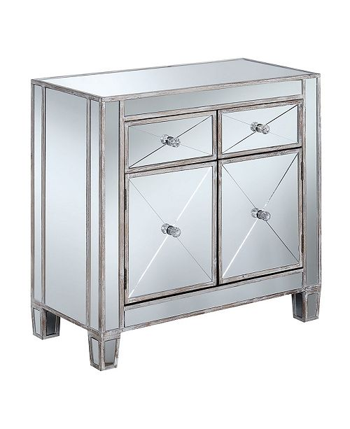 Convenience Concepts Gold Coast Vineyard 2 Drawer Mirrored Hall Table