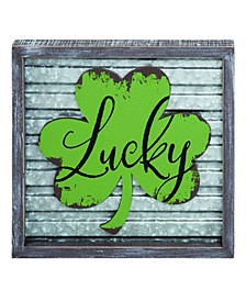 Wood  Green St. Patrick's Day Corrugated Lucky Frame Decor
