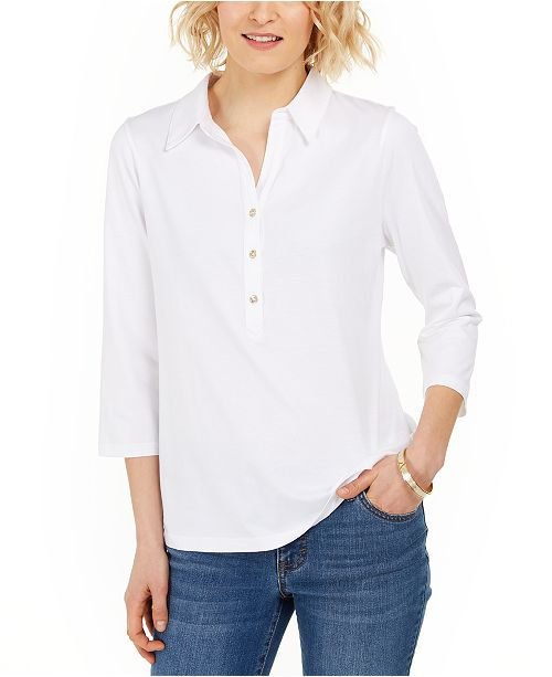 Charter Club Petite Supima Cotton Shirt, Created for Macy's