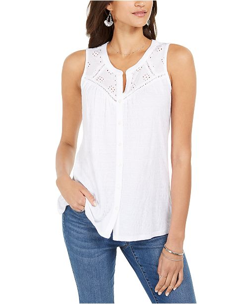 Style & Co Button-Down Tank Top, Created for Macy's