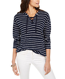Style & Co Cotton Striped Lace-Up Hoodie, Created for Macy's