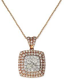 EFFY® Diamond Pave Square Pendant (7/8 ct. t.w.) in 14k Rose Gold