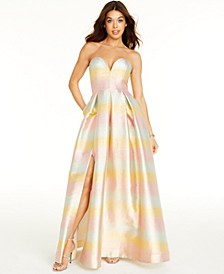 Sweetheart-Neck Metallic Gown