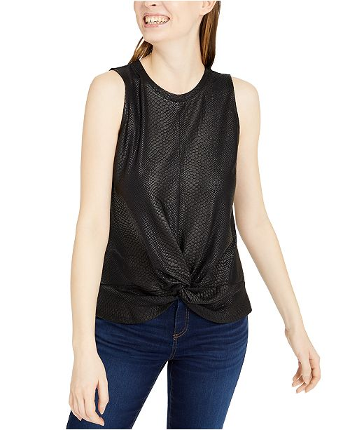 INC International Concepts INC Croc-Embossed Twist-Front Top, Created For Macy's