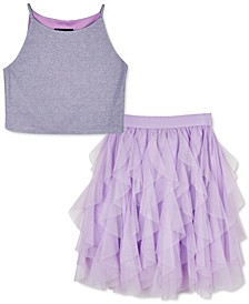 Big Girls 2-Pc. Glitter Top & Ruffled Skirt Set