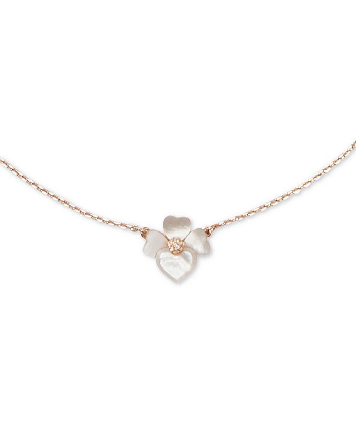 "kate spade new york - Rose Gold-Tone Pavé Flower 36"" Pendant Necklace"