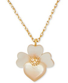 "Gold-Tone Pavé Flower Pendant Necklace, 17"" + 3"" extender"