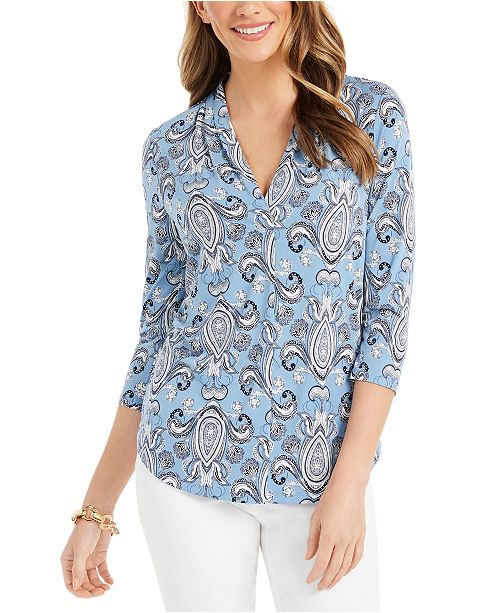 Charter Club Petite Printed Pleated-Neck Top, Created for Macy's