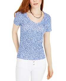 Printed V-Neck Top