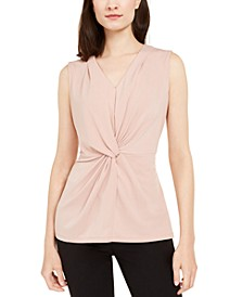 Petite Twist-Front Sleeveless Top, Created for Macy's