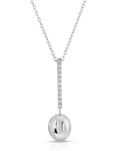 Macy's Brilliant Bubbles Diamond 1/10 ct. t.w. Line Pendant Designed in 14k Rose Gold over Sterling Silver