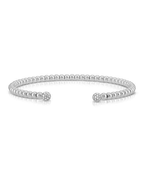 Macy's Brilliant Bubbles Diamond 1/10 ct. t.w. Bubble 1x1 Flex Bangle Bracelet Designed in 14k Rose Gold Sterling Silver