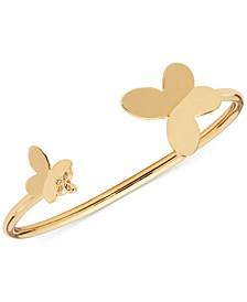 Gold-Tone Cubic Zirconia Butterfly Flex Cuff Bracelet