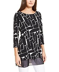 Petite Printed Mesh-Trim Tunic Top, Created for Macy's