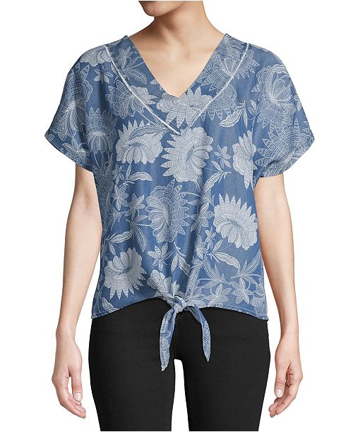 John Paul Richard Printed Tie-Hem Top