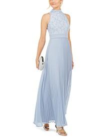 Glitter Lace Top Halter Dress