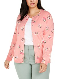 Plus Size Floral-Print Cardigan, Created For Macy's