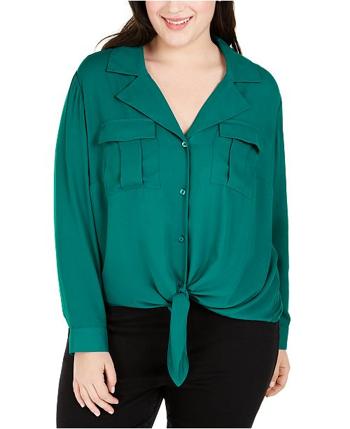 INC International Concepts INC Plus Size Tie-Front Utility Shirt, Created For Macy's
