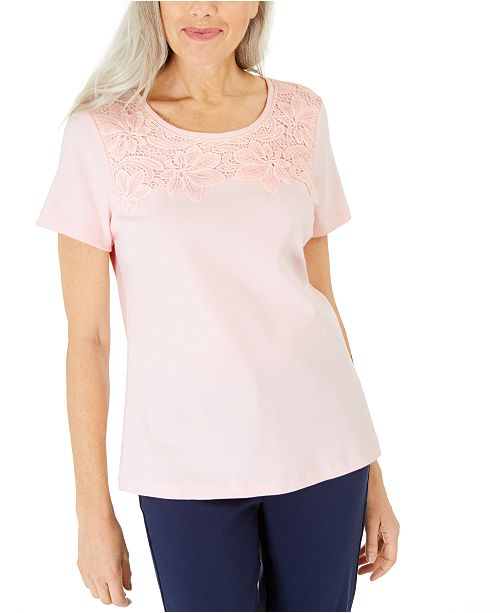 Karen Scott Cotton Crochet-Front Top, Created for Macy's