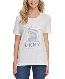 Sequin-Embellished Graphic Print T-Shirt