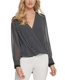 Striped Wrap-Front Blouse