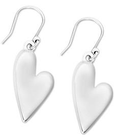 Silver-Tone Heart Drop Earrings