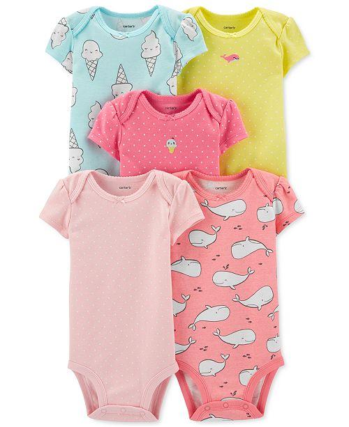 Carter's Baby Girls 5-Pk. Printed Cotton Bodysuits