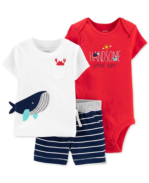 Carter's Baby Boys 3-Pc. Cotton Whale T-Shirt, Bodysuit & Striped Shorts Set