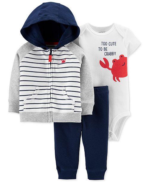 Carter's Baby Boys 3-Pc. Cotton Zip-Up Hoodie, Crab Bodysuit & Pants Set