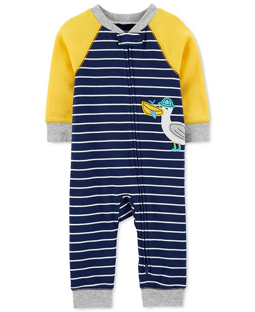 Carter's Baby Boys Striped Seagull Cotton Coverall