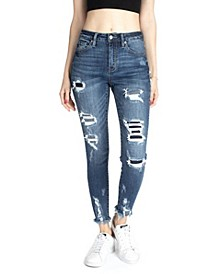 High Rise Pinstripe Patchwork Ankle Skinny