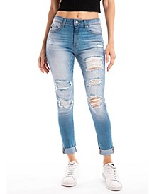 Mid Rise Distressed  Ankle Skinny with Double Fold Hem