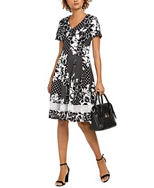 Petite Floral Dot Fit & Flare Dress